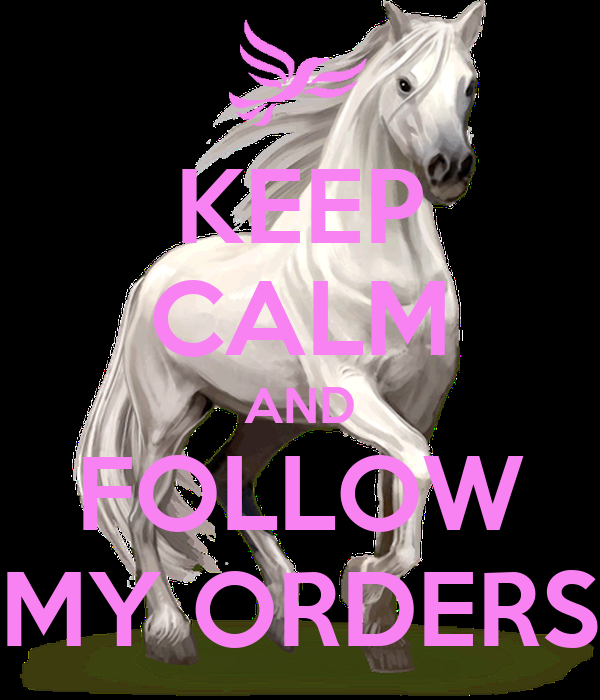 KEEP CALM AND FOLLOW MY ORDERS