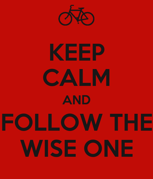 KEEP CALM AND FOLLOW THE WISE ONE