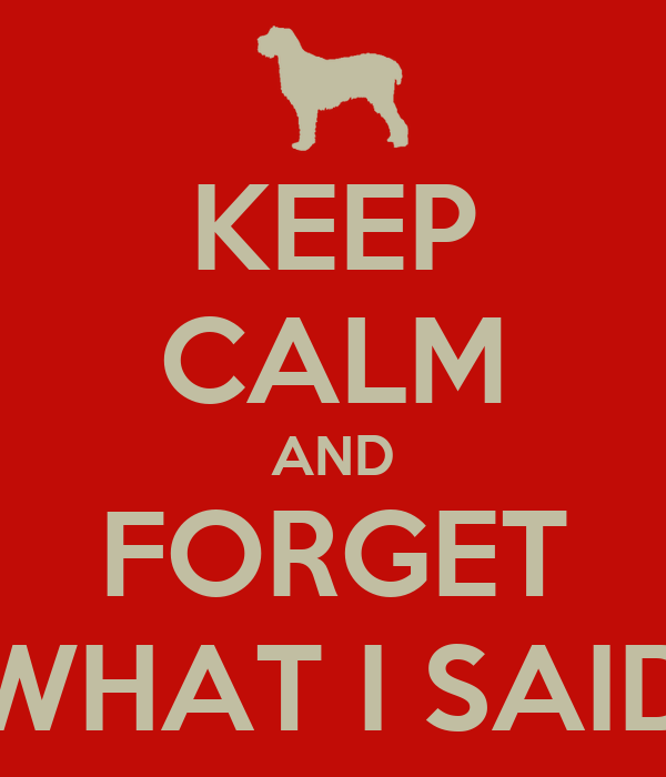 KEEP CALM AND FORGET WHAT I SAID
