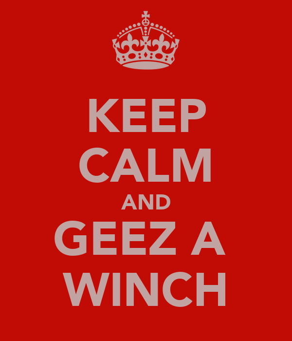 KEEP CALM AND GEEZ A  WINCH