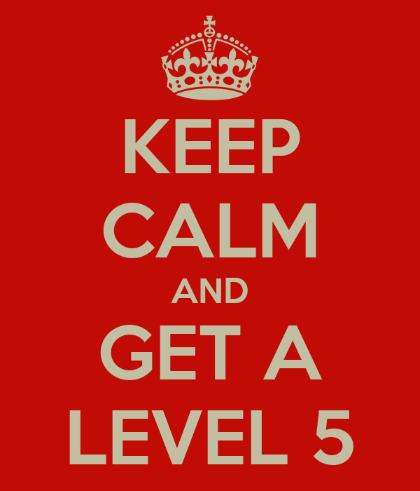 KEEP CALM AND GET A LEVEL 5