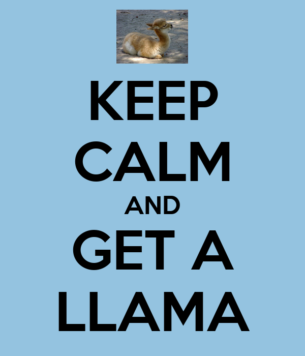 KEEP CALM AND GET A LLAMA