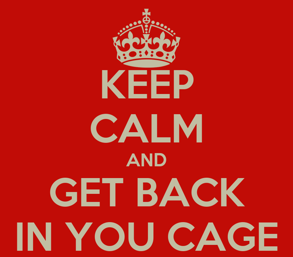 KEEP CALM AND GET BACK IN YOU CAGE