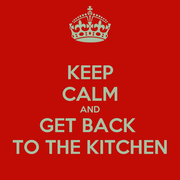 KEEP CALM AND GET BACK  TO THE KITCHEN