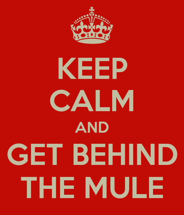 KEEP CALM AND GET BEHIND THE MULE