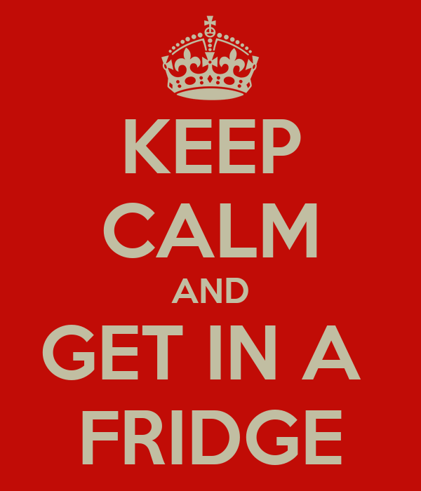 KEEP CALM AND GET IN A  FRIDGE
