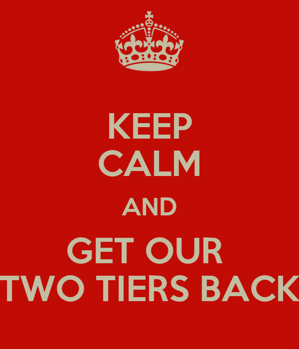KEEP CALM AND GET OUR  TWO TIERS BACK