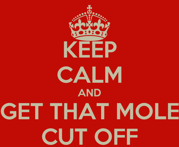 KEEP CALM AND GET THAT MOLE CUT OFF