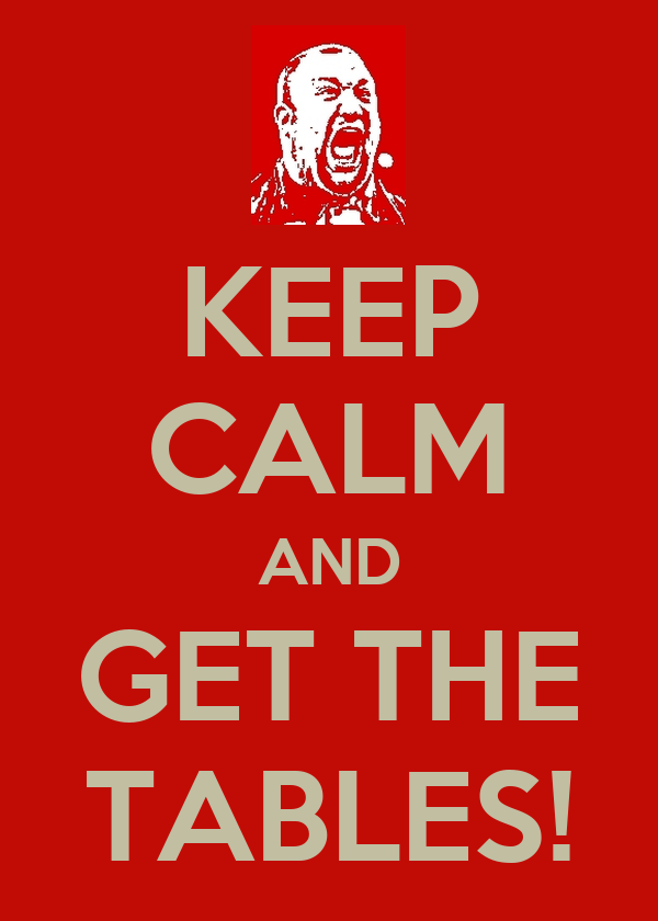 KEEP CALM AND GET THE TABLES!