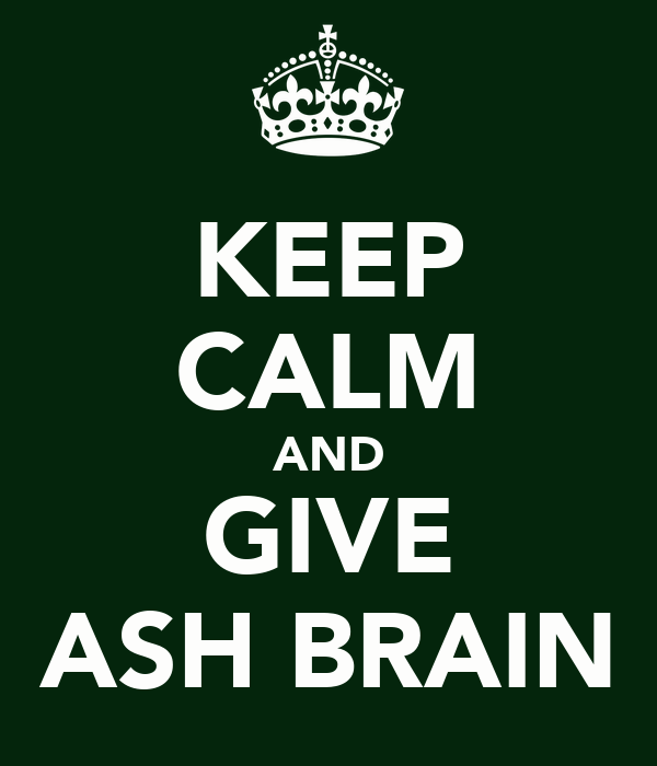 KEEP CALM AND GIVE ASH BRAIN