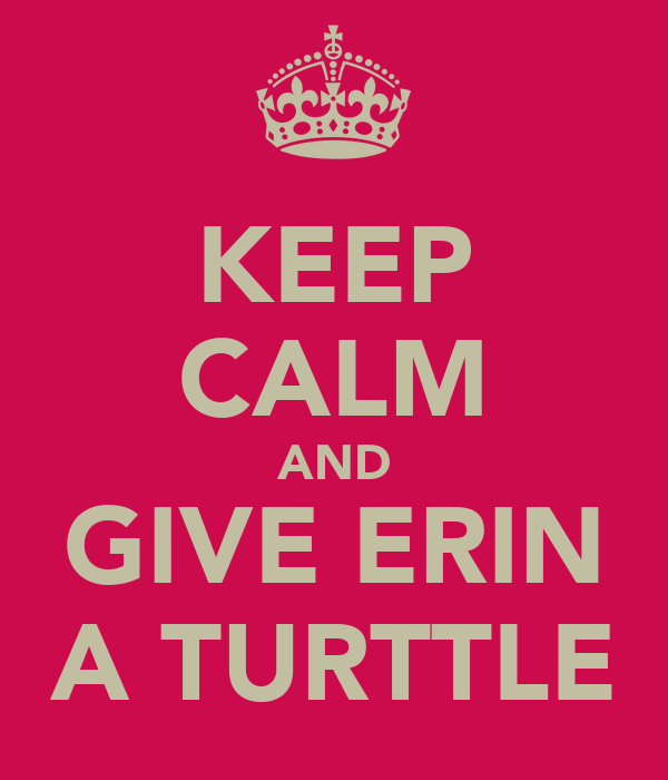 KEEP CALM AND GIVE ERIN A TURTTLE