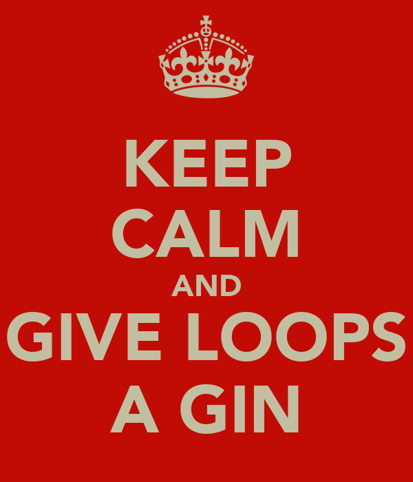 KEEP CALM AND GIVE LOOPS A GIN