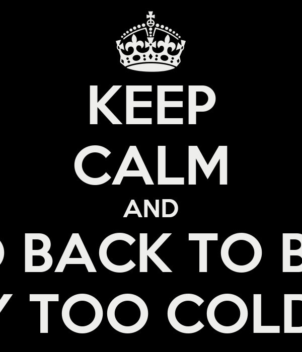 KEEP CALM AND GO BACK TO BED BECAUSE IT'S WAY TOO COLD TO GO TO WORK