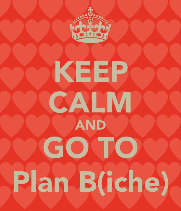 KEEP CALM AND GO TO Plan B(iche)