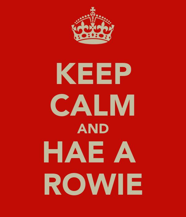 KEEP CALM AND HAE A  ROWIE