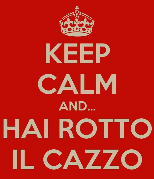 KEEP CALM AND... HAI ROTTO IL CAZZO