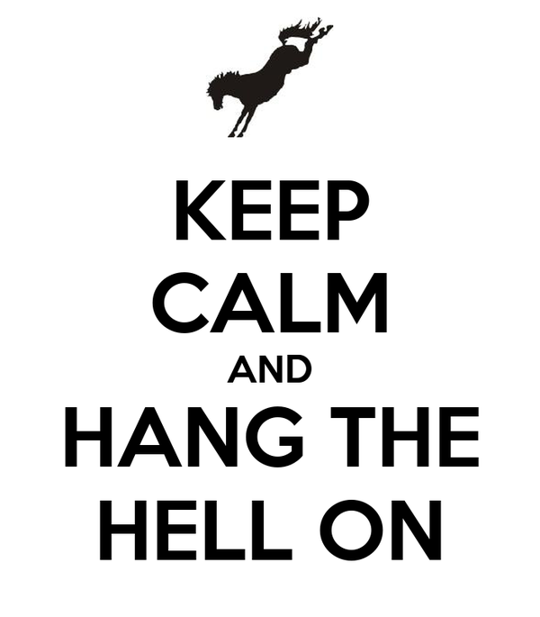 KEEP CALM AND HANG THE HELL ON