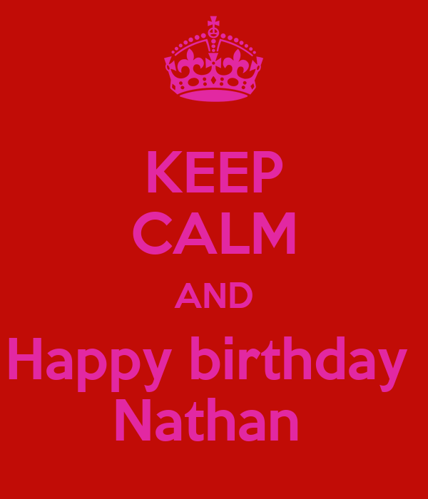 KEEP CALM AND Happy birthday  Nathan