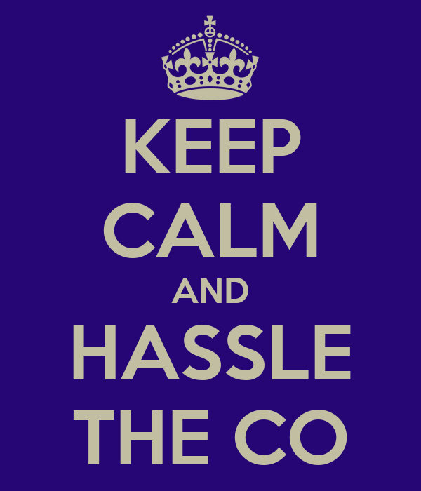 KEEP CALM AND HASSLE THE CO