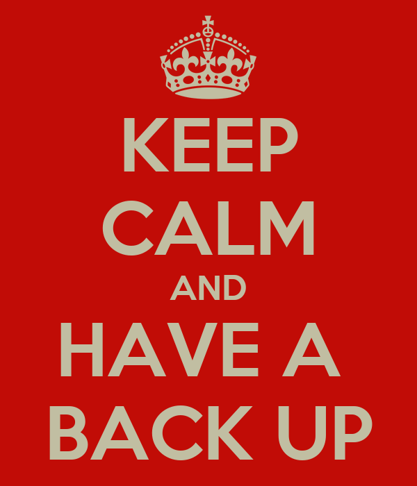 KEEP CALM AND HAVE A  BACK UP