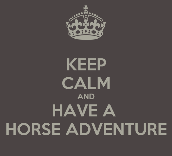 KEEP CALM AND HAVE A  HORSE ADVENTURE