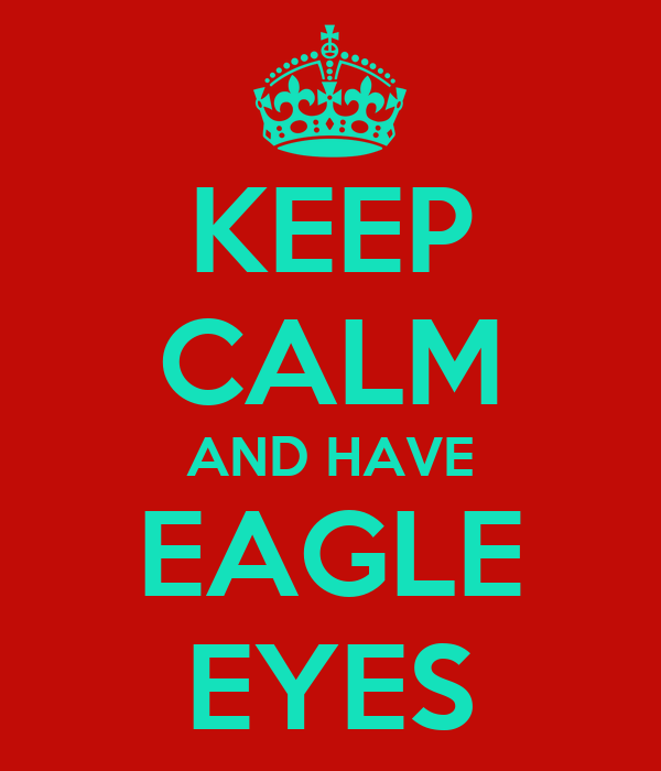 KEEP CALM AND HAVE EAGLE EYES