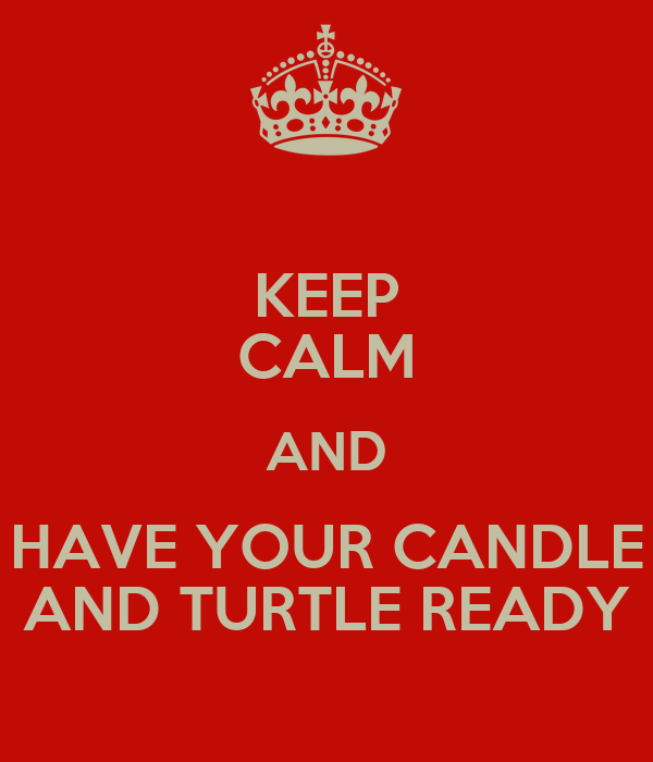 KEEP CALM AND HAVE YOUR CANDLE AND TURTLE READY