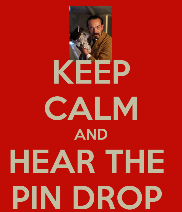 KEEP CALM AND HEAR THE  PIN DROP