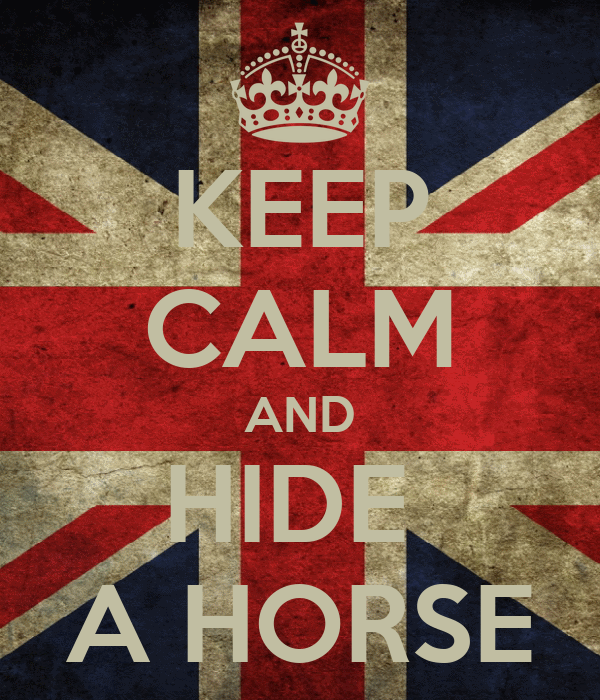 KEEP CALM AND HIDE  A HORSE