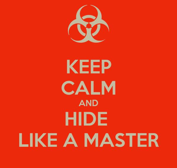 KEEP CALM AND HIDE  LIKE A MASTER