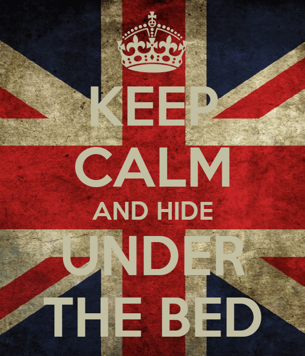 KEEP CALM AND HIDE UNDER THE BED