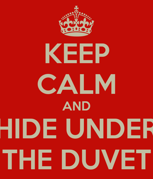 KEEP CALM AND HIDE UNDER THE DUVET