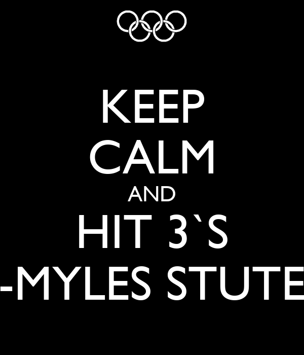 KEEP CALM AND HIT 3`S -MYLES STUTE