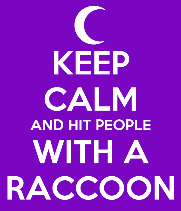KEEP CALM AND HIT PEOPLE WITH A RACCOON