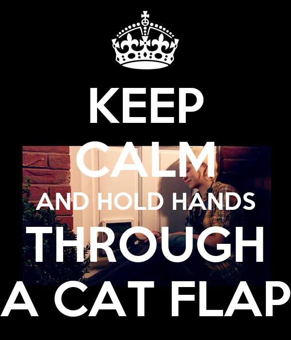 KEEP CALM AND HOLD HANDS THROUGH A CAT FLAP