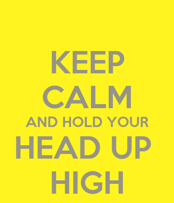 KEEP CALM AND HOLD YOUR HEAD UP  HIGH