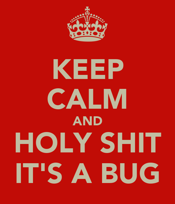 KEEP CALM AND HOLY SHIT IT'S A BUG