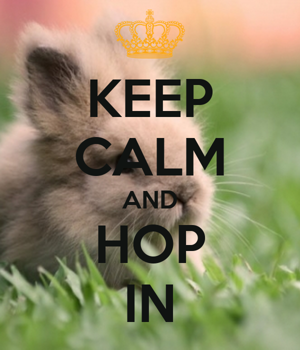 KEEP CALM AND HOP IN
