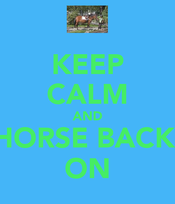 KEEP CALM AND HORSE BACK  ON