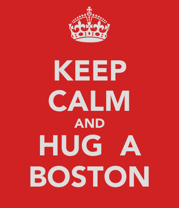 KEEP CALM AND HUG  A BOSTON