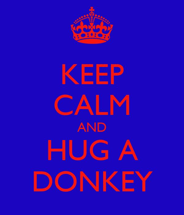 KEEP CALM AND HUG A DONKEY