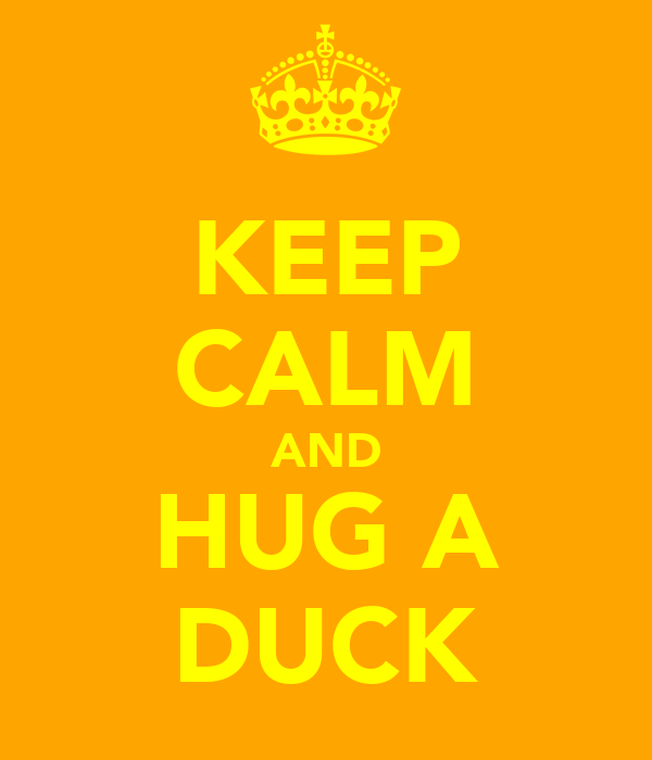 KEEP CALM AND HUG A DUCK