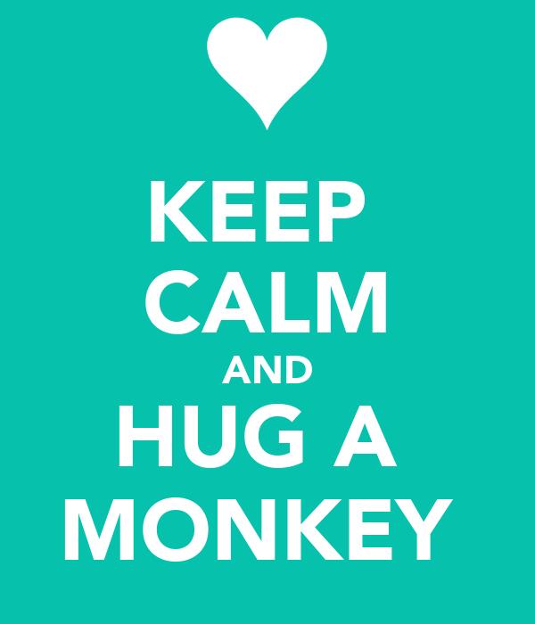 KEEP  CALM AND HUG A  MONKEY