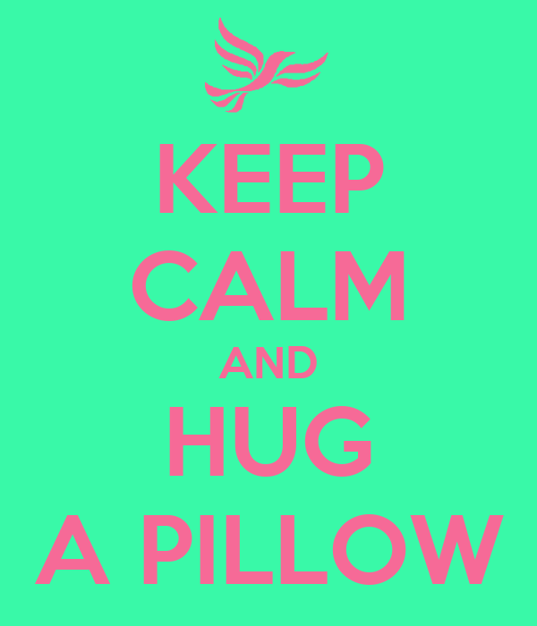 KEEP CALM AND HUG A PILLOW