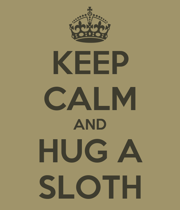 KEEP CALM AND HUG A SLOTH