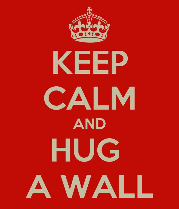 KEEP CALM AND HUG  A WALL