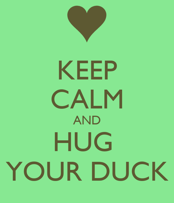 KEEP CALM AND HUG  YOUR DUCK