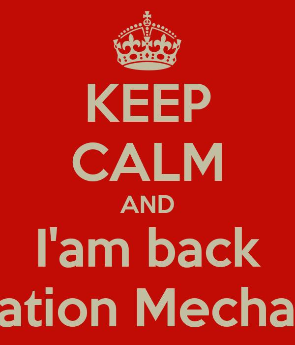 KEEP CALM AND I'am back Aviation Mechanic