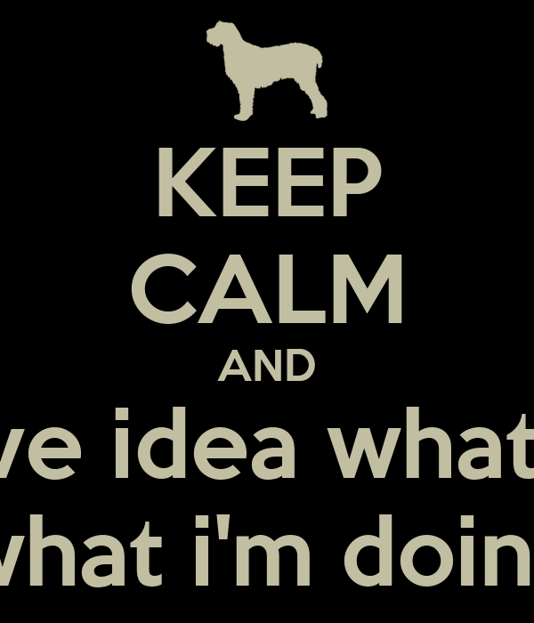 KEEP CALM AND i don't have idea what i'm doing what i'm doing