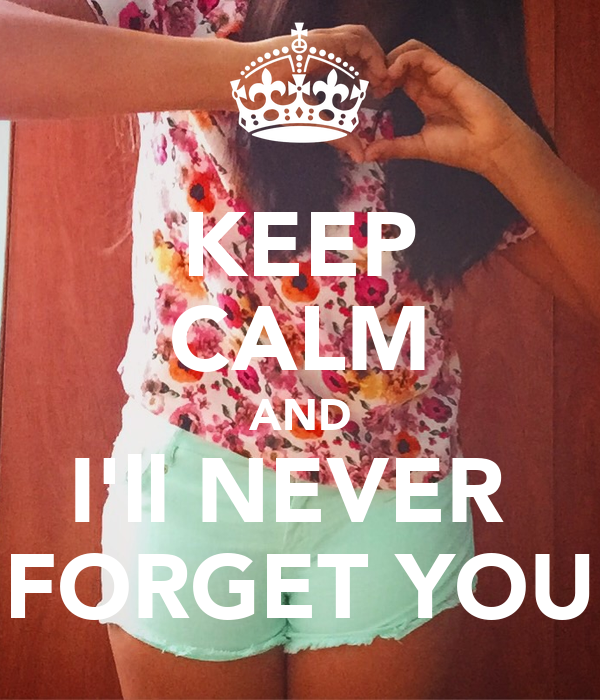 KEEP CALM AND I'll NEVER  FORGET YOU